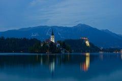 在流血的湖,斯洛文尼亚,欧洲的惊人的看法 免版税图库摄影