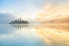 在流血的湖,斯洛文尼亚的日出 库存照片