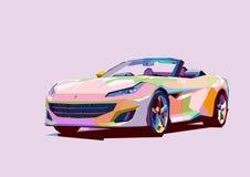 在流行艺术样式的五颜六色的跑车 库存例证