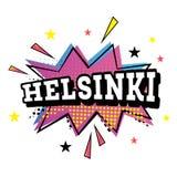 在流行艺术样式的赫尔辛基可笑的文本 向量例证