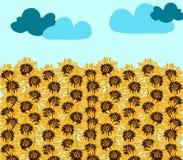 在浅兰的背景的向日葵领域和云彩 库存照片