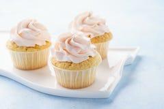 在浅兰的背景的桃红色香草杯形蛋糕 免版税库存图片