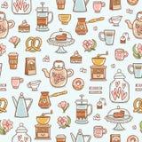 在浅兰的背景的茶时间美味的无缝的样式 免版税库存照片