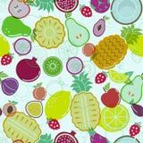 在浅兰的背景的被分类的果子 库存图片