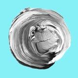 在浅兰的背景隔绝的丙烯酸酯的圈子 灰色,文本的黑色圆的水彩形状 另外设计的元素 免版税库存照片