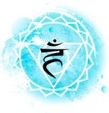 在浅兰的水彩背景的第五喉头chakra visuddha 库存例证