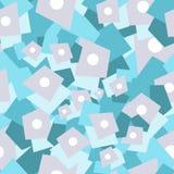 在浅兰,深蓝和灰色颜色的抽象几何无缝的样式 五颜六色的几何模式 库存图片