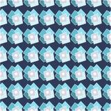 在浅兰,深蓝和灰色颜色的抽象几何无缝的样式 五颜六色的几何模式 库存照片