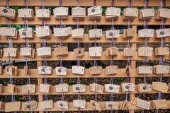 在浅草寺庙的祝福木卡片 库存图片