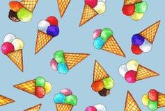 在浅褐色的薄酥饼垫铁的五颜六色的冰淇凌 向量例证