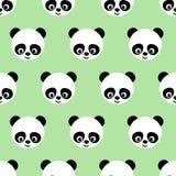 在浅绿色的背景的熊猫无缝的样式 库存图片