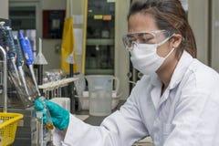 在测试玻璃的夫人举行的和调查的化学制品 免版税库存图片
