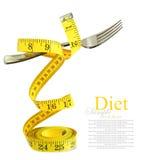 在测量的磁带上的一把叉子代表的平衡饮食 库存图片