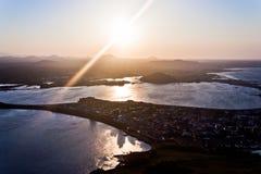 在济州海岛的惊人的日落在南韩 免版税图库摄影