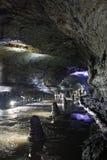 在济州海岛,韩国上的熔岩管 免版税库存照片