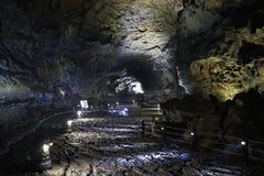 在济州海岛,韩国上的熔岩管 库存照片