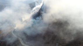 在浓烟盖的森林的空中英尺长度,照相机审阅烟 股票视频
