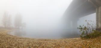 在浓雾的海湾 免版税库存图片