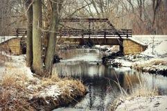 在浣熊小河的桥梁 免版税库存照片