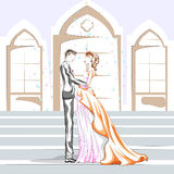 在浪漫心情的美好的夫妇 免版税库存图片