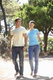 在浪漫步行的年轻夫妇在乡下 库存图片