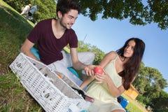 在浪漫野餐期间的画象年轻夫妇在乡下 库存照片