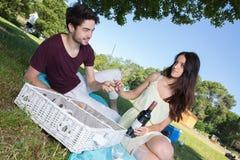 在浪漫野餐期间的画象年轻夫妇在乡下 免版税图库摄影