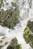 在浪端的白色泡沫的瀑布场面 图库摄影