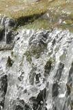 在浪端的白色泡沫的瀑布场面 免版税库存图片