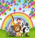 在浮动气球和彩虹下的动物 库存照片