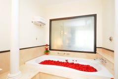 在浴的玫瑰花瓣 库存图片