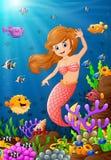 在海下的例证美人鱼 向量例证