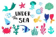 在海下的夏天字法 集合手拉的象、标志和横幅 明亮的夏令时海报 汇集夏天手 库存例证