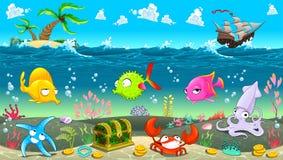在海下的滑稽的场面 免版税库存图片