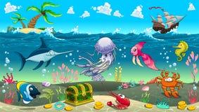在海下的滑稽的场面 免版税库存照片