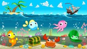 在海下的滑稽的场面