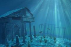 在海中废墟 库存照片
