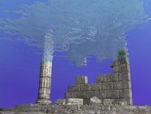 在海中废墟 向量例证