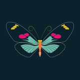 在海军背景的蝴蝶摘要 免版税库存照片