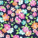 在海军背景-无缝的印刷品的五颜六色的花混合 库存照片