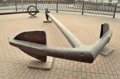 在海军舰队附近博物馆的船锚  库存图片