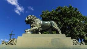 在海军部堤防的狮子,圣彼德堡,俄罗斯 库存图片