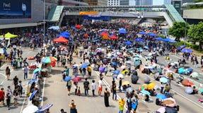 在海军部的抗议者隔离,香港 免版税库存照片