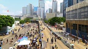 在海军部的示威者隔离,香港 免版税库存照片