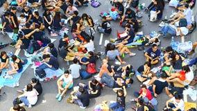 在海军部的示威者隔离,香港 库存图片