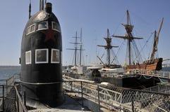 在海博物馆的老俄国潜水艇 库存图片
