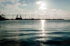 在海口的日出在Curonian盐水湖 免版税图库摄影