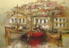 在海岛上的小船怀有,手工制造绘画 免版税库存图片