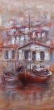 在海岛上的小船怀有,手工制造绘画 库存图片
