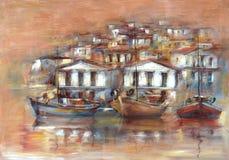 在海岛上的小船怀有,手工制造绘画 库存照片